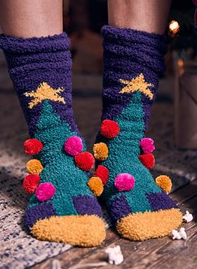 christmas fluffy socks