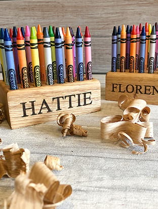 Personalised Oak Crayon Holder