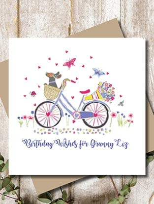 PERSONALISED BIKE DACHSHUND GREETING CARD