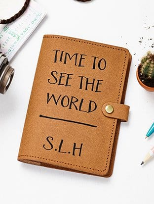 PERSONALISED RECYCLED LEATHER PASSPORT COVER
