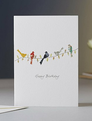 Birds On A Twig Birthday Card