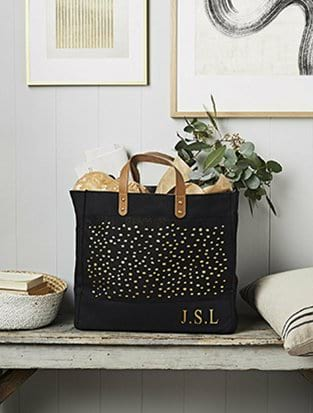 Dot Print Jute Shopper