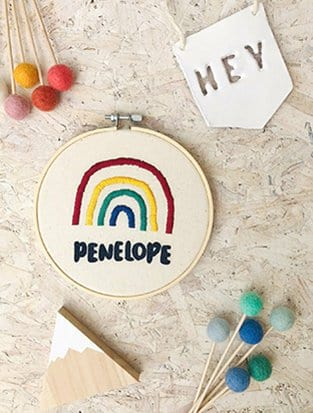 Personalised Rainbow Embroidery Hoop