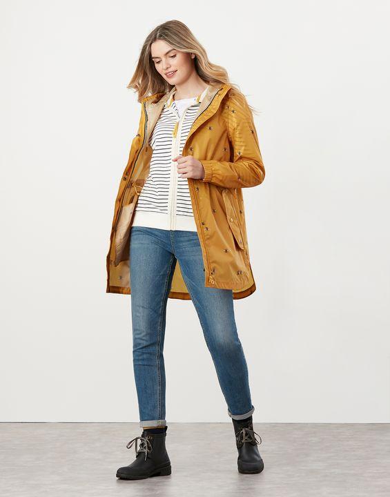 Joules Womens Golightly Printed Waterproof Packaway Jacket - Gold Bee