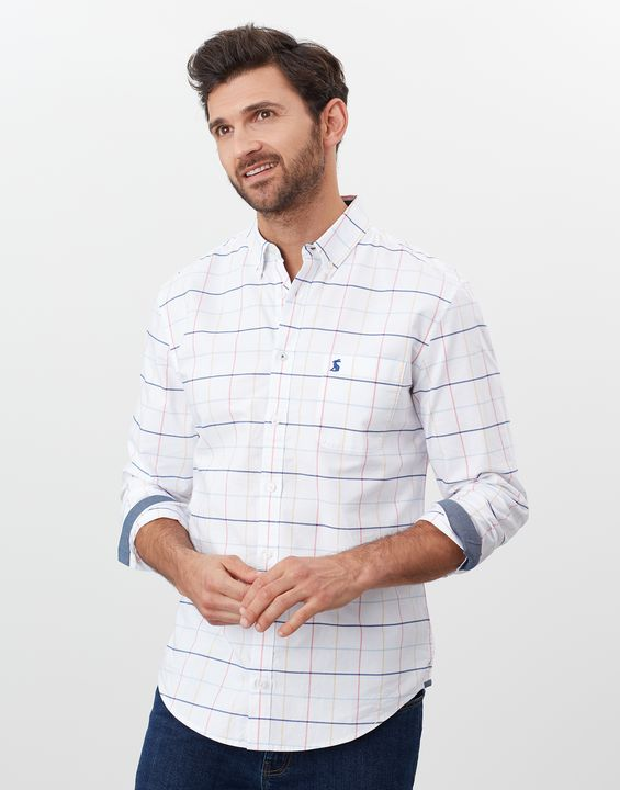 Joules Mens Welford Long Sleeve Classic Fit Check Shirt - Multi Blue Check