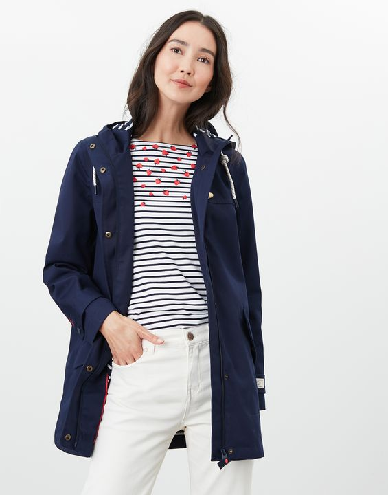 Joules Womens Coast Mid Length Waterproof Jacket - French Navy