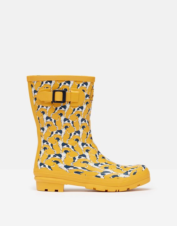 Joules Womens Molly Mid Height Printed Rain Boots - Gold Geo Dog