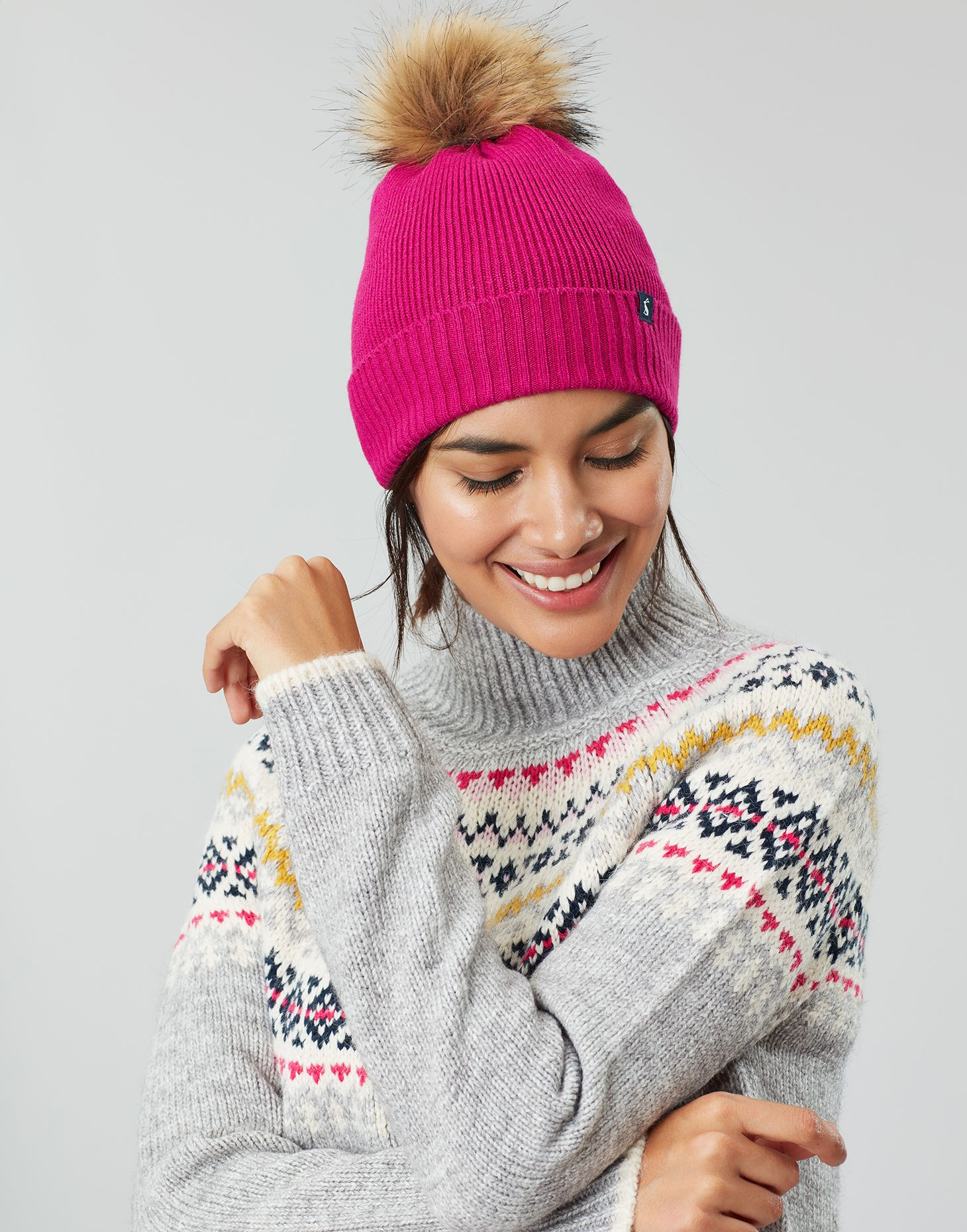 Joules Womens Snowday Lightweight Beanie With Pop A Pom in GOLD in One Size