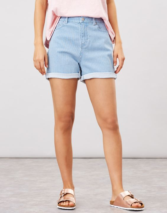 Joules Womens Shirley Striped Denim Shorts - Denim Stripe