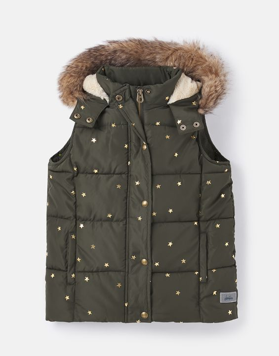 Joules Girls Rhea Padded Vest With Hood 3-12 Years - Green Stars