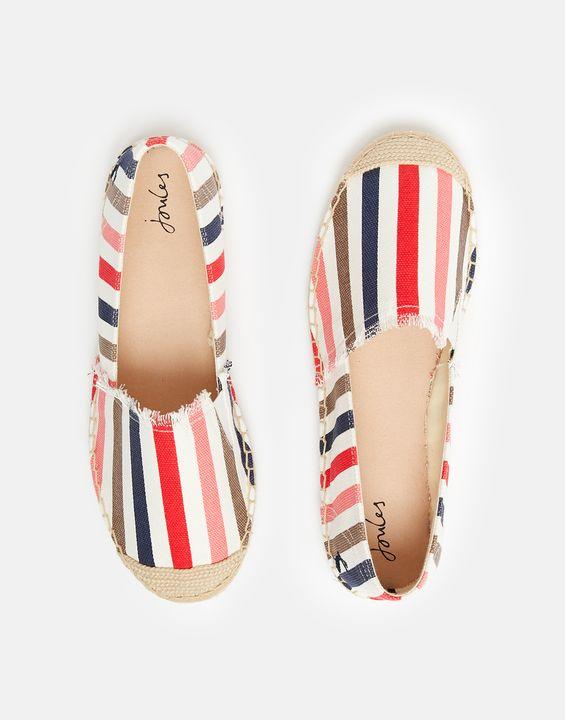 Joules Womens Shelbury Espadrilles - Cream Stripe