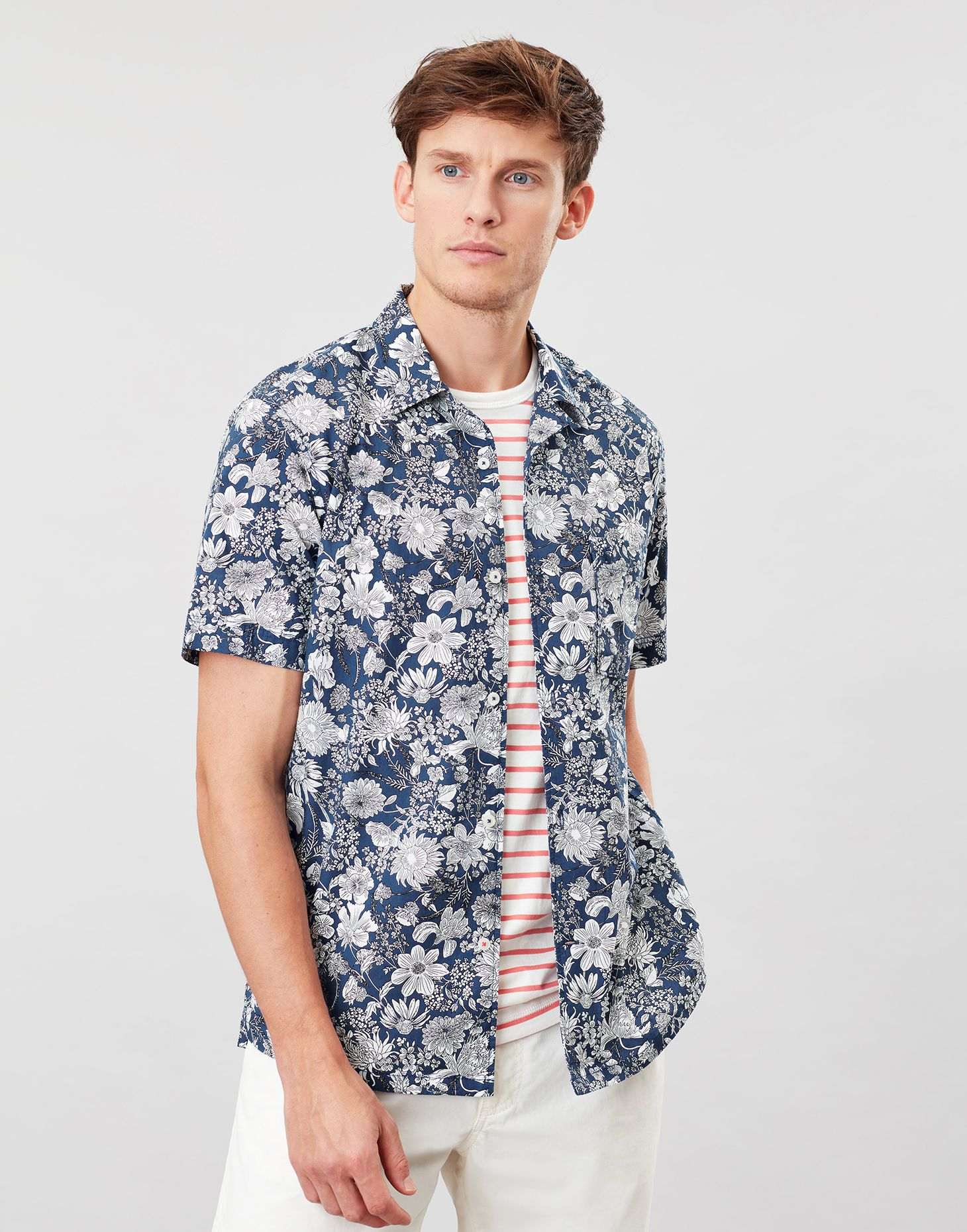 Joules Mens Revere Short Sleeve Collar Printed Shirt Navy Floral