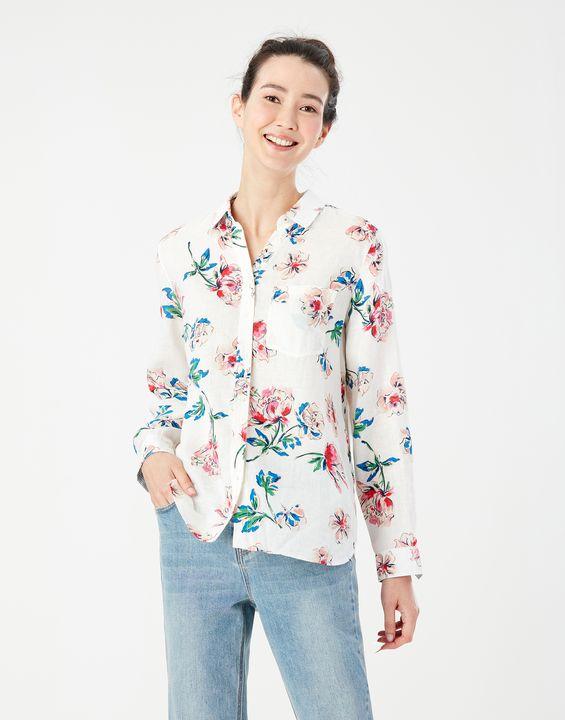 Joules Womens Lorena Longline Linen Shirt - Chalk Floral