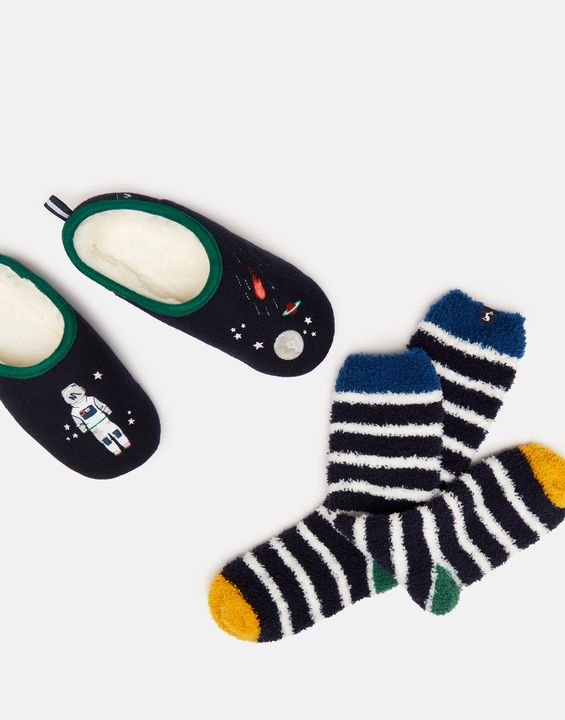 Joules Boys Slipper And Socks Gift Set - Navy Spaceman