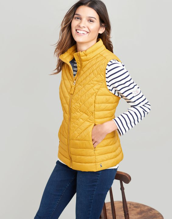 Joules UK Brindley Womens Chevron Quilted Gilet ANTIQUE GOLD