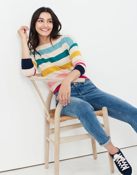 Joules Womens Vivianna Slash Neck Sweater - Multi Stripe