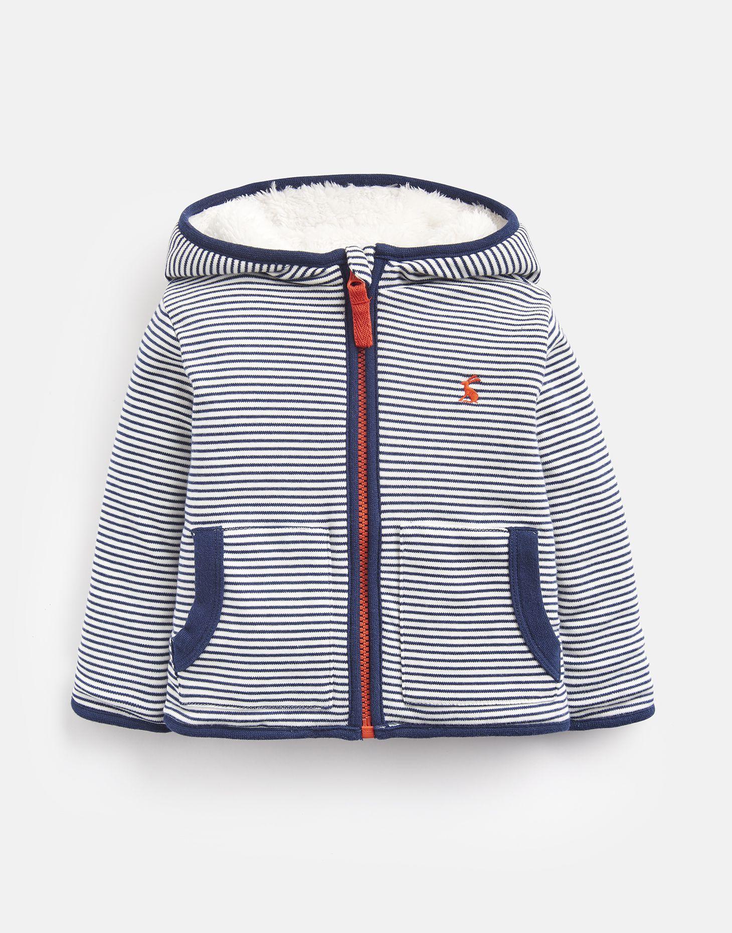 Joules 204676 Fully Reversible Fleece Jacket in NAVY STRIPE