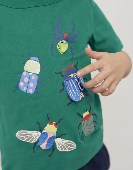 Joules US Chomper Younger Boys Applique T-Shirt 1-6 Yr GREEN BEETLE