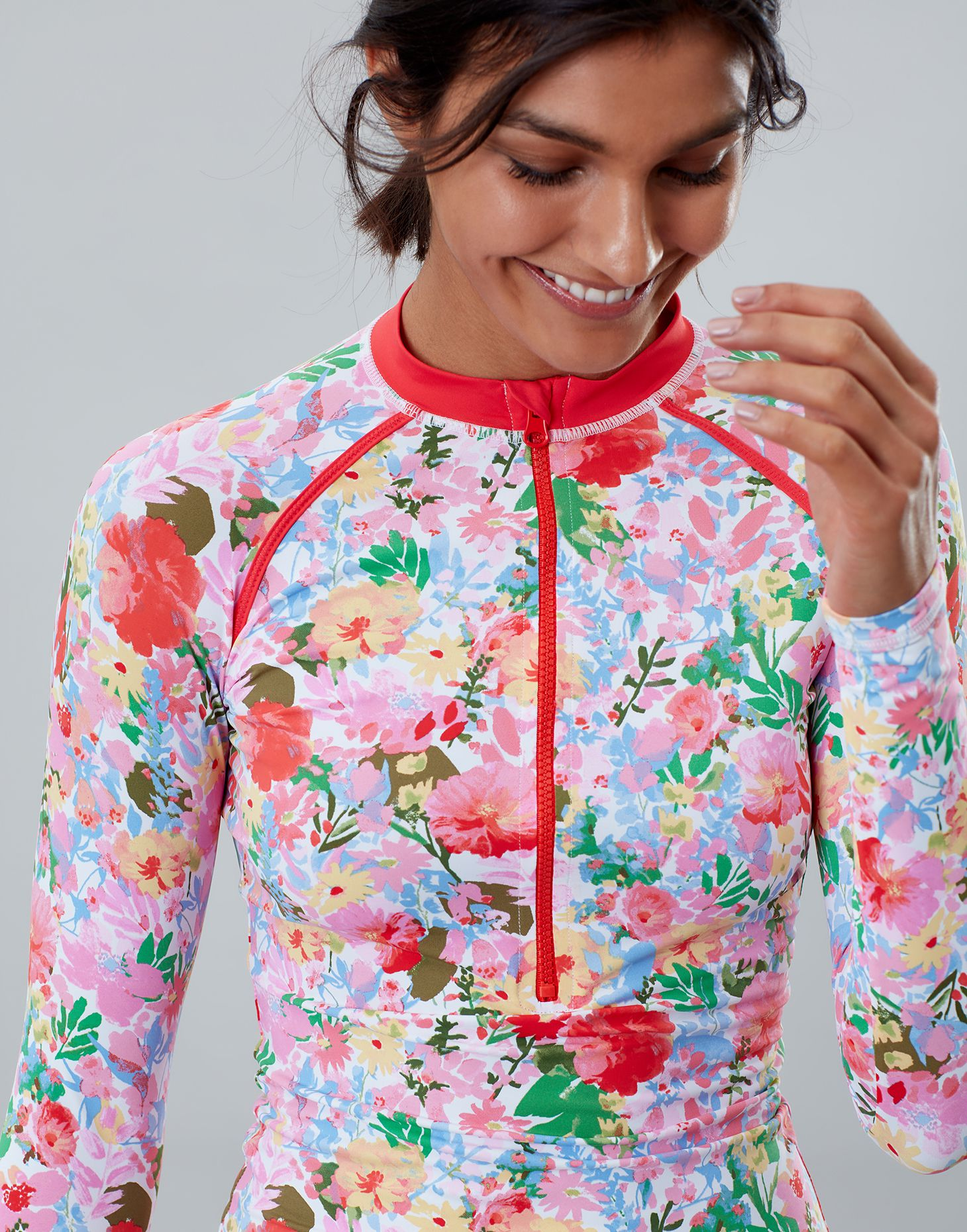Joules Womens Adrianna Zip Rash Vest in WHITE FLORAL MEADOW