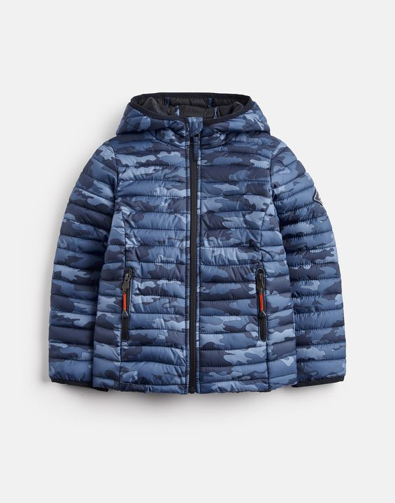 Joules UK CAIRN PRINT Older Boys Packaway Padded Jacket 3-12yr BLUE CAMO