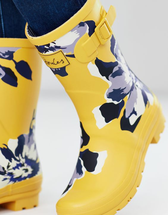 Joules Womens Molly Mid Height Rain Boots - Gold Floral