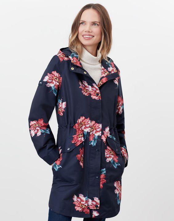 Joules Womens Loxley Print Longline Waterproof Jacket - Navy Peony