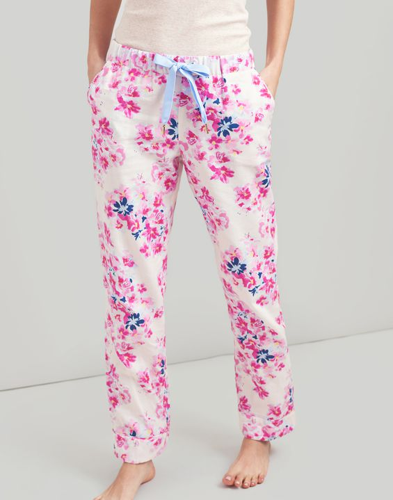 9a6edb8496 Joules UK Snooze Womens Woven Pyjama Bottoms With Lace Detail ...