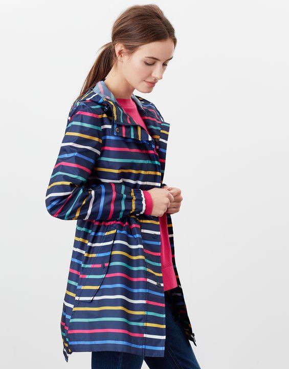 Joules Womens Golightly Printed Waterproof Packaway Jacket - Multi Stripe