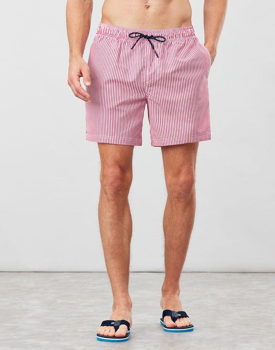 Joules Mens Heston Printed Swim Shorts - Red Textured Stripe