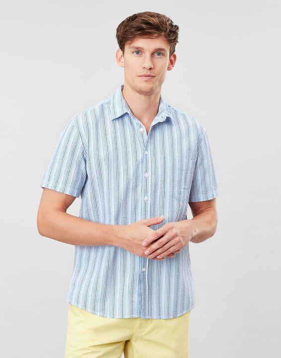 Joules Mens Pier Short Sleeve Classic Fit Shirt - Blue Stripe