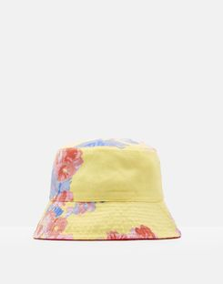 Joules UK Sunseeker Girls Reversible Hat YELLOW FLORAL