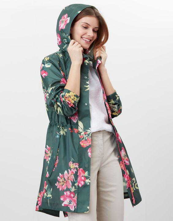 Joules Womens Golightly Printed Waterproof Packaway Jacket - Green Floral