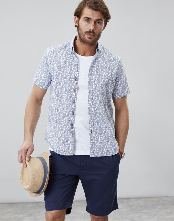 c16839ba Joules UK Printed Light Mens Short Sleeve Classic Fit Shirt ...