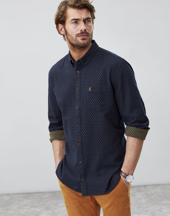 82fd5da061 Halbert FRENCH NAVY SPOT Long Sleeve Classic Fit Textured Shirt ...