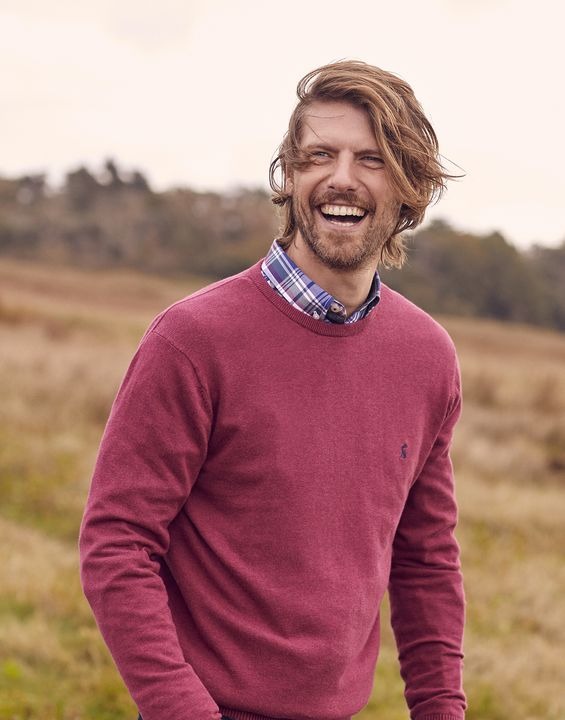 Joules Mens Jarvis Crew Neck Sweater - Purple Marl
