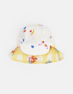 Joules UK Sunny Baby Girls Reversible Hat WHITE FRUIT