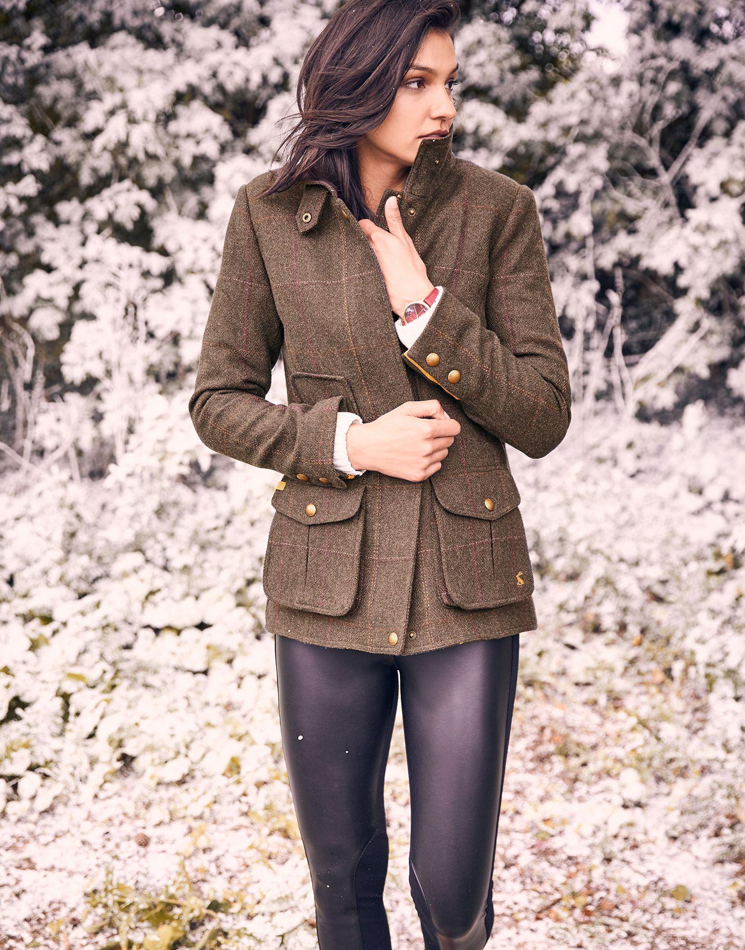 Green Blue All Sizes Joules Fieldcoat Womens Jacket Tweed Jackets