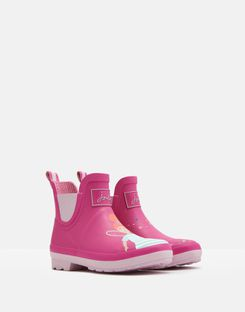 Joules UK Wellibob Girls Short Height Wellies PINK FAIRY