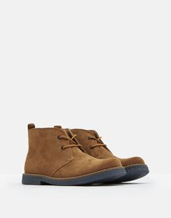 Joules US Woodland Boys Casual Leather Boots TAN