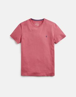 Joules UK Laundered Tee Mens Plain Crew Neck T-Shirt LIGHT PINK