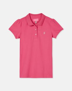 Joules US Ginny Older Girls Plain Polo Shirt 1-12 Yr BRIGHT PINK