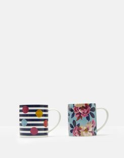 Joules UK Bircham Bloom Stripe Mugs Homeware Set Of Two NAVY STRIPE BIRCHAM BLOOM