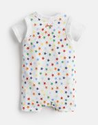 Joules Baby Jonah Jersey Babygrow And Top Set in WHITE BLUE MULTI STRIPE