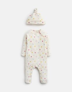 Joules US Giggle Baby Girls Supersoft Babygrow And Hat Set CREAM SPOT MOUSE