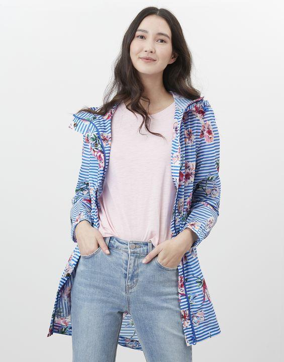 Joules Womens Golightly Printed Waterproof Packaway Jacket - Blue Stripe Floral