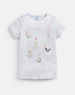 Joules US Astra Older Girls Jersey Applique Top 3-12 Yr BLUE MERMAID