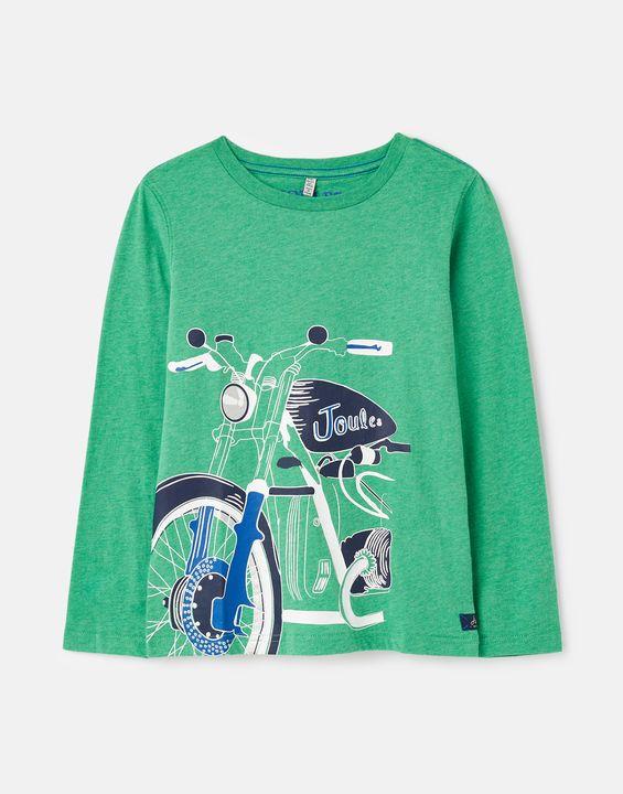 Joules Boys Randall Screenprint T-Shirt 1-12 Years - Green Motorbike