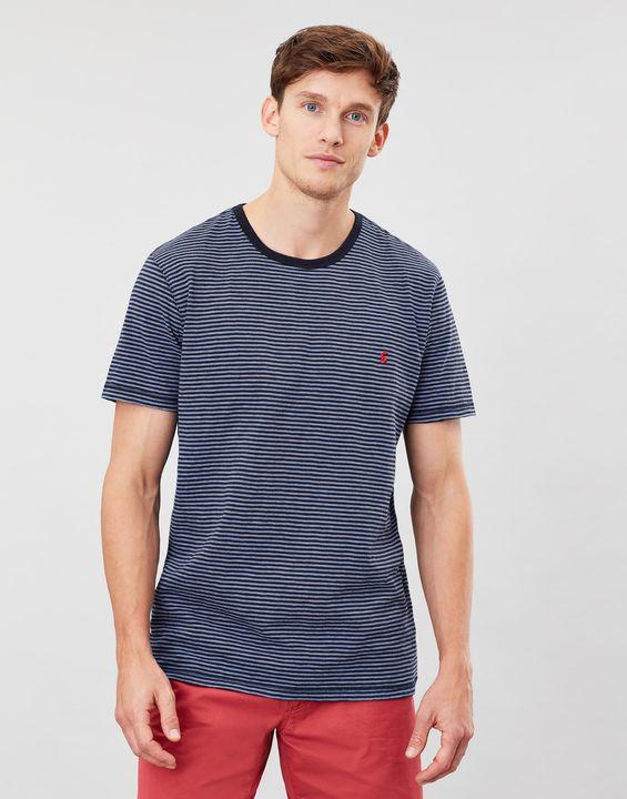 Joules Mens Island Striped Crew Neck T-Shirt - Blue Stripe Dino