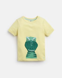 Joules US Chomper Younger Boys Applique T-Shirt 1-6 Yr YELLOW DINO