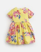 1037bf39 Joules UK Martha Younger Girls Woven Printed Dress 1-6 Yr YELLOW FLORAL